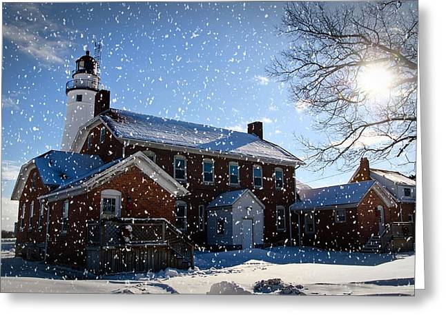 Cheryl Cencich Greeting Cards - Winter Lighthouse Greeting Card by Cheryl Cencich