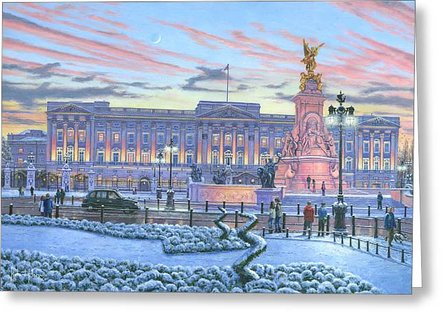 Buckingham Palace Greeting Cards - Winter Lights Buckingham Palace Greeting Card by Richard Harpum