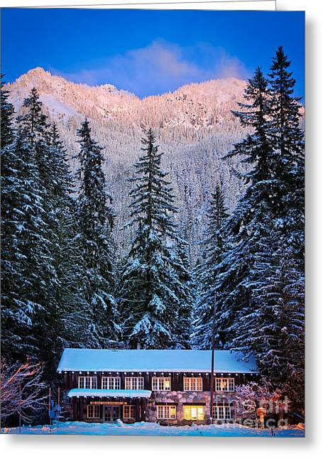 Hiking Greeting Cards - Winter Lodging Greeting Card by Inge Johnsson