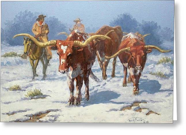Durango Greeting Cards - Winter Longhorns Greeting Card by Randy Follis