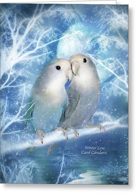 Parrot Art Print Greeting Cards - Winter Love Greeting Card by Carol Cavalaris