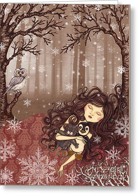 Coloured Mixed Media Greeting Cards - Winter lullaby Greeting Card by Snezana Kragulj