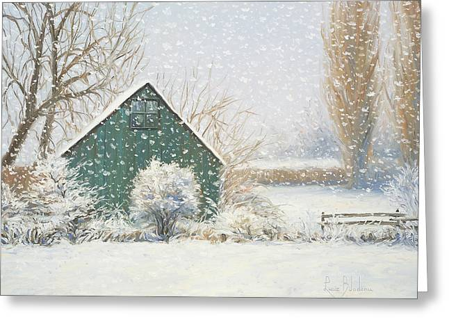 Quebec Paintings Greeting Cards - Winter Magic Greeting Card by Lucie Bilodeau