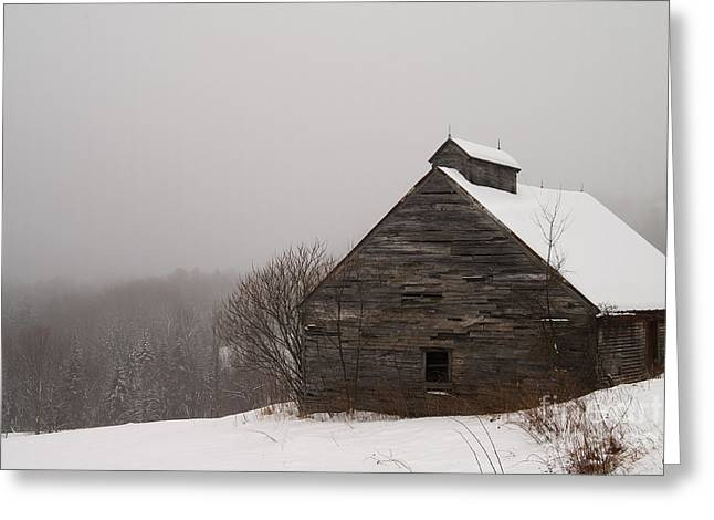 Old Maine Barns Greeting Cards - Winter Maine Barn Greeting Card by Alana Ranney