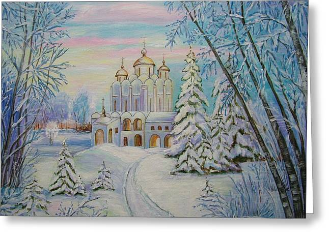 Snow Capped Greeting Cards - Winter Greeting Card by Mariia Barabolia