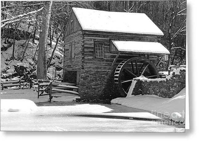 Snow Scene Landscape Greeting Cards - Winter Mill in Black and White Greeting Card by Paul Ward