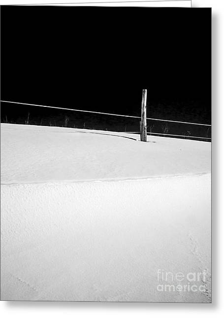 Snow Drifts Greeting Cards - Winter Minimalism Black and White Greeting Card by Edward Fielding