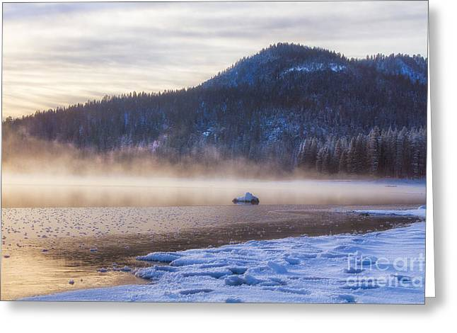 Sunrise. Water Greeting Cards - Winter Mist Greeting Card by Anthony Bonafede