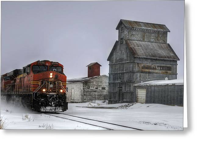 Santa Fe Greeting Cards - Winter Mixed Freight Through Castle Rock Greeting Card by Ken Smith
