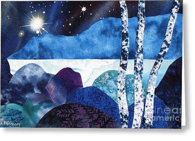 Snowy Night Mixed Media Greeting Cards - Winter Moon 2 Greeting Card by Susan Minier