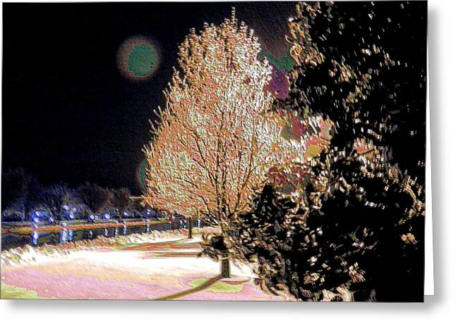 Keeneland Greeting Cards - Winter Moon at Keeneland Greeting Card by Christopher Hignite