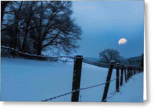 Moonrise Greeting Cards - WInter Moon Greeting Card by Bill  Wakeley