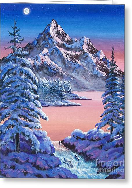 Snow Scenes Greeting Cards - Winter Moon Greeting Card by David Lloyd Glover