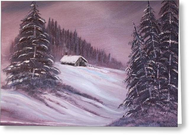 Bob Ross Paintings Greeting Cards - Winter Moon Greeting Card by Janice Rae Pariza
