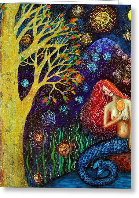 Empowerment Greeting Cards - Winter Moon Mermaid Greeting Card by Alice Mason