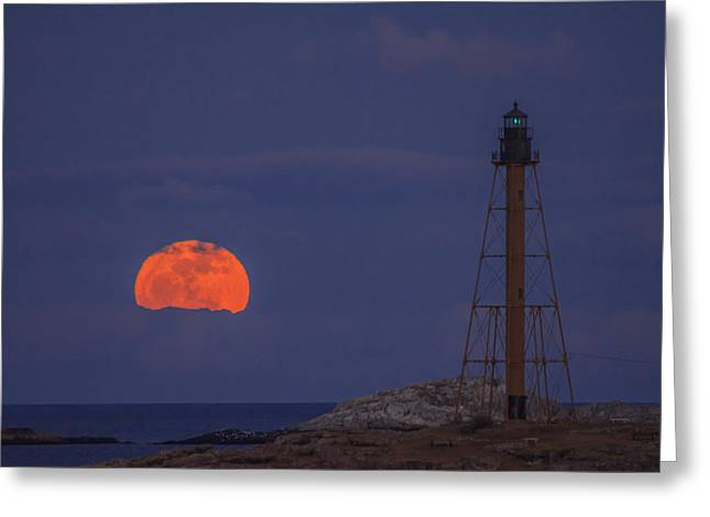 Winter Moon Rising Over Marblehead Light Greeting Card by Jeff Folger