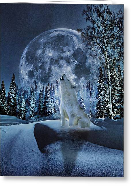 Wolf Moon Greeting Cards - Winter Moon Song Greeting Card by Yury Malkov