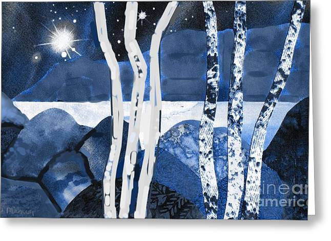 Wintry Mixed Media Greeting Cards - Winter Moon Greeting Card by Susan Minier