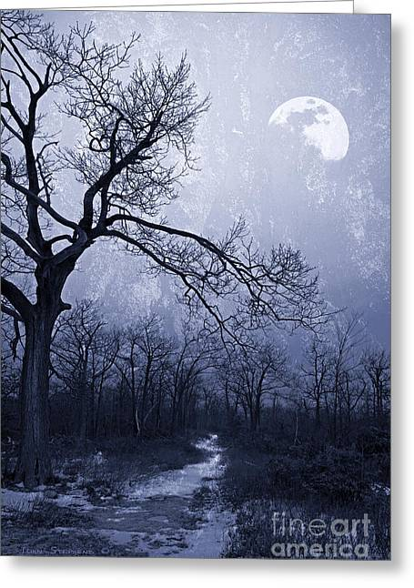 Gnarly Greeting Cards - Winter Moonlight Blues Greeting Card by John Stephens