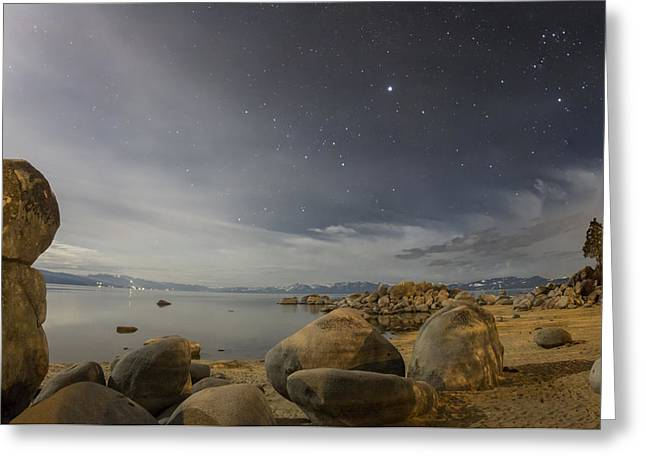 Moon Beach Greeting Cards - Winter Moonlight Greeting Card by Jeremy Jensen