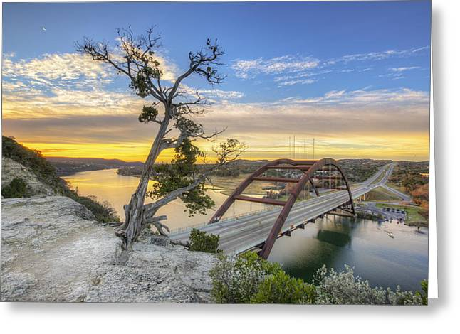 Austin 360 Greeting Cards - Winter Moonrise over the 360 Bridge in Austin Texas Greeting Card by Rob Greebon