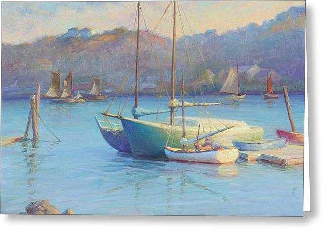 Artists Colony Greeting Cards - Winter Mooring Gloucester Greeting Card by Ernest Principato