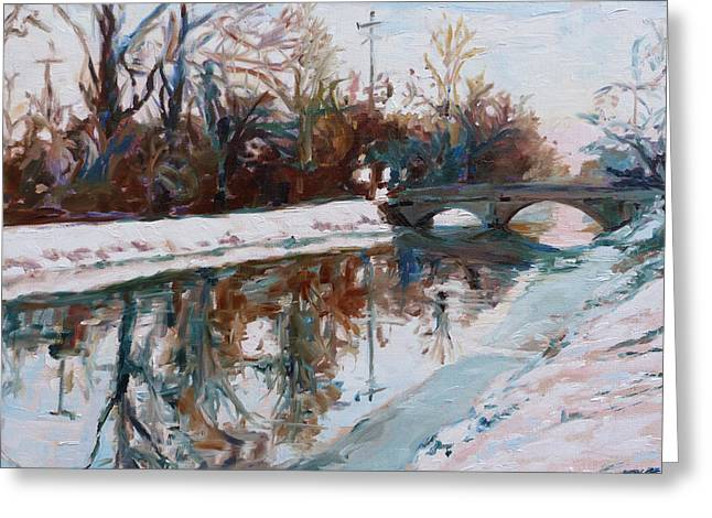Indiana Rivers Paintings Greeting Cards - Winter Morning Greeting Card by Azhir Fine Art