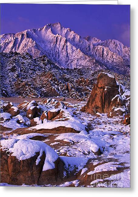 Winter Morning Alabama Hills And Eastern Sierras Greeting Card by Dave Welling
