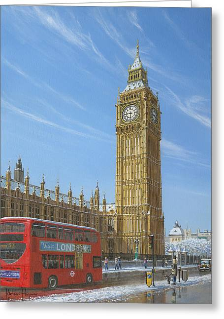 Charles River Paintings Greeting Cards - Winter Morning Big Ben Elizabeth Tower London Greeting Card by Richard Harpum