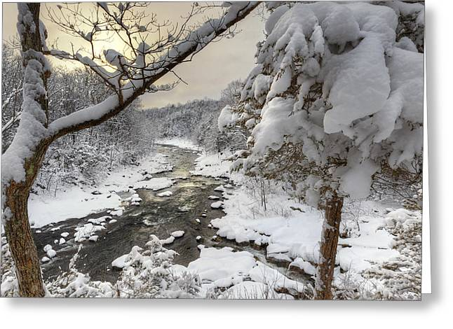 New England Snow Scene Greeting Cards - Winter Morning Greeting Card by Bill  Wakeley