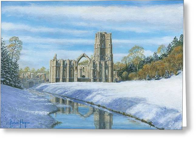 National Paintings Greeting Cards - Winter Morning Fountains Abbey Yorkshire Greeting Card by Richard Harpum