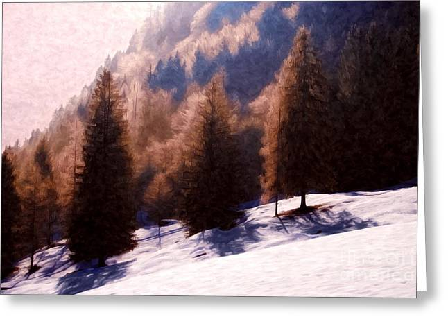 Soft Light Greeting Cards - Winter Morning in Austria Greeting Card by Sabine Jacobs