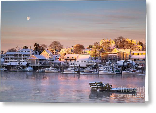 New England Village Scene Greeting Cards - Winter Morning in Boothbay Harbor Greeting Card by Benjamin Williamson