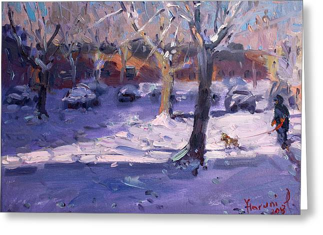 Winter Morning In My Courtyard Greeting Card by Ylli Haruni