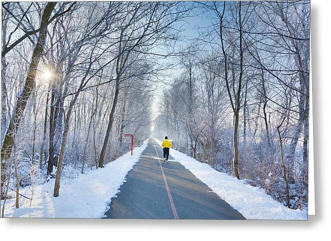 Jogging Greeting Cards - Winter Morning In the Park Greeting Card by Alexey Stiop