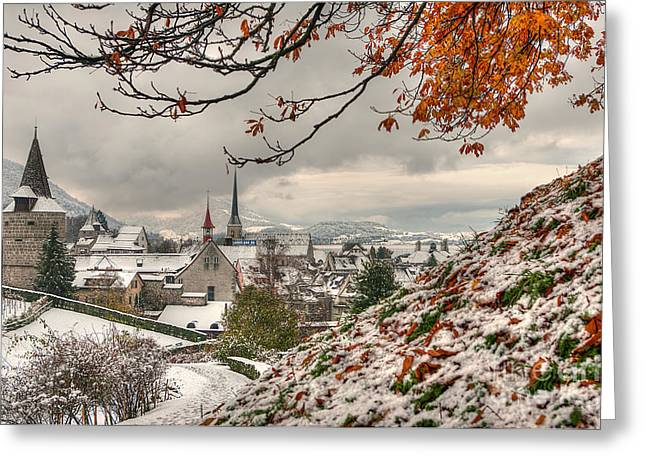 Caroline Pirskanen Greeting Cards - Winter morning in Zug Greeting Card by Caroline Pirskanen