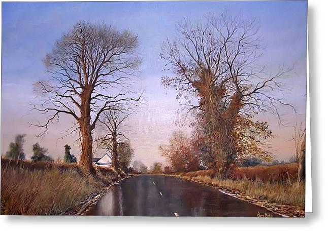 Milton Keynes Greeting Cards - Winter morning on Calverton Lane Greeting Card by Barry BLAKE