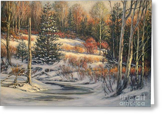 Artiste Quebecois Du Canada Greeting Cards - Winter Morning Greeting Card by Pierre Morin