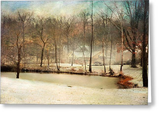 Snow Scene Landscape Greeting Cards - Winter Morning Pond Greeting Card by Jai Johnson