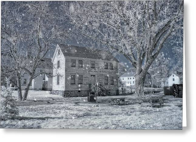 New England Snow Scene Greeting Cards - Winter Morning - Strawbery Banke - Portsmouth NH Greeting Card by Joann Vitali