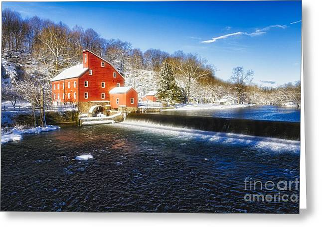 Red Mill Historic Village Greeting Cards - Winter Morning with a Red Gristmill Greeting Card by George Oze