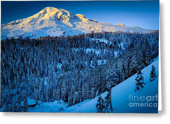 Hike Greeting Cards - Winter Mountain Greeting Card by Inge Johnsson