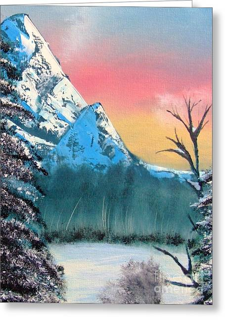 Nanas Art Greeting Cards - Winter Mountain Twilight Greeting Card by Marianne NANA Betts