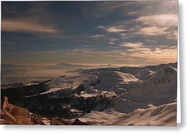 View Pyrography Greeting Cards - Winter mountains view Greeting Card by Victor Georgiev