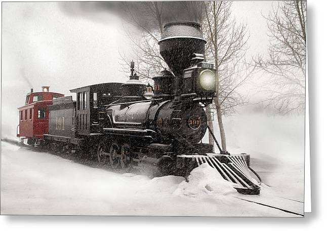 2-8-0 Greeting Cards - Winter Narrow Gauge Steam Greeting Card by Ken Smith