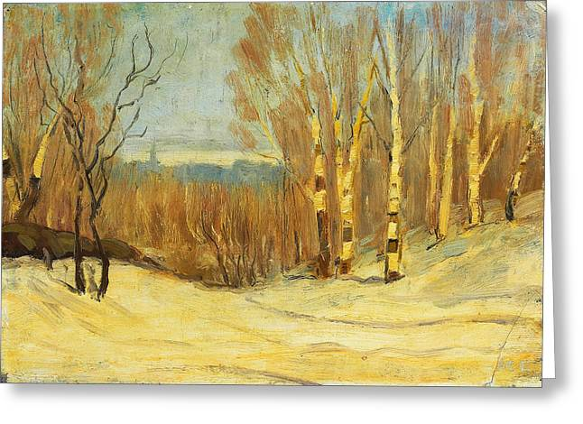 Cullen Greeting Cards - Winter near Montreal Greeting Card by Maurice Cullen