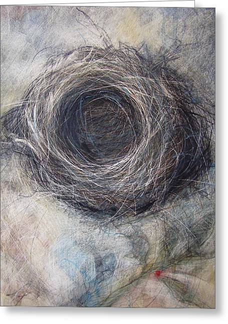 Nature Study Mixed Media Greeting Cards - Winter Nest Greeting Card by Tonja  Sell