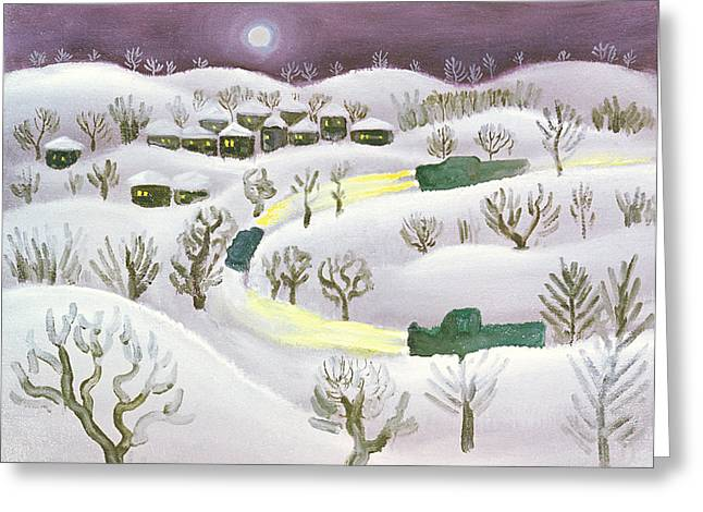 Snowy Evening Greeting Cards - Winter Night, 1971 Oil On Canvas Greeting Card by Radi Nedelchev