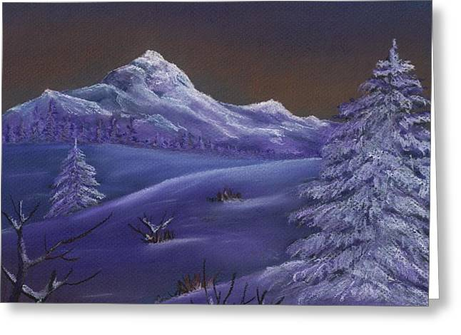 Rural Scene Pastels Greeting Cards - Winter Night Greeting Card by Anastasiya Malakhova