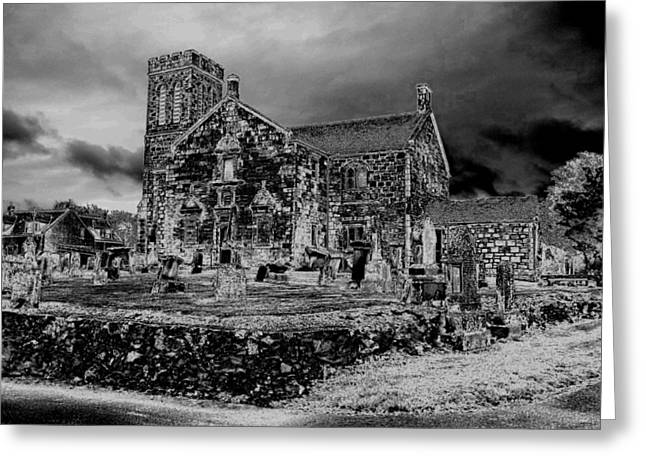 Leaden Sky Greeting Cards - Winter Night at Dunlop Kirk Greeting Card by James Potts
